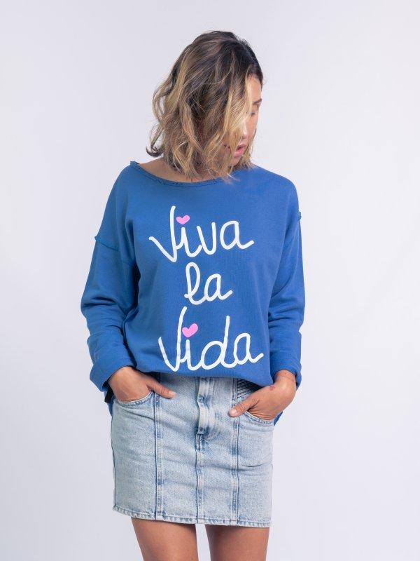 """SUDADERA """"VIVA LA VIDA"""" AZUL"""