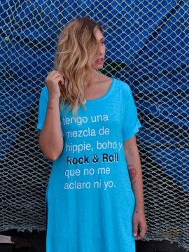 "CAMISETA TÚNICA MAXI ""HIPPIE, BOHO Y ROCK&ROLL"" AZUL"