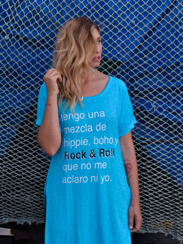 """VESTIDO """"HIPPIE, BOHO Y ROCK&ROLL"""" AZUL"""