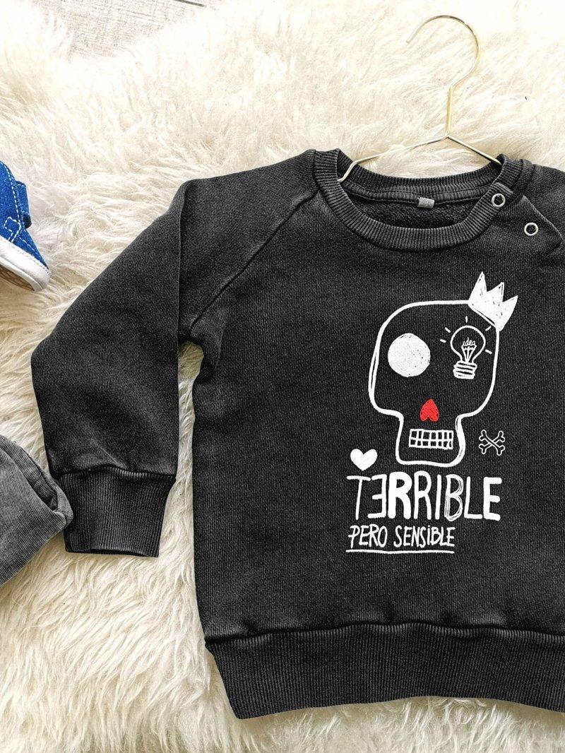 """SUDADERA BABY """"TERRIBLE PERO SENSIBLE"""" GRIS"""