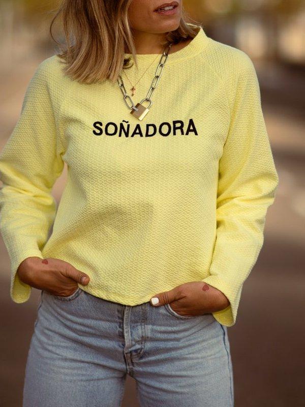 """SUDADERA """"SOÑADORA"""" AMARILLA"""